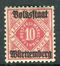 WURTTEMBERG;  1919 Official VOLKSSTAAT Optd. mint hinged 10pf. SP-245354