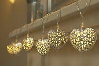 X12 METAL heart MORROCAN STRING GARDEN SOLAR POWERED OUTDOOR GARLAND LIGHTS gift