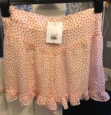 TOPSHOP PETITE Ladies Girls Cream Red Love Heart Shorts Size 14 BNWT