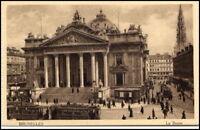 BRUXELLES ~1910/20 alte Postkarte mit Tram Strassenbahn La Bourse Börse