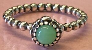 PANDORA   BIRTHDAY BLOOMS CHRYSOPRASE RING *NEW* 190854CH 60 MAY AUTHENTIC 9 USA