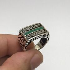 Turkish Jewelry Cool Green Line Agate 925K Sterling Silver Men's Ring