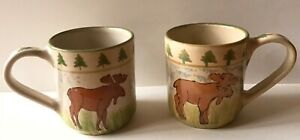 2 Mesa International Pottery 12 oz Coffee Mug Moose  Handcrafted in Hungary