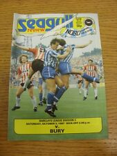 03/10/1987 Brighton And Hove Albion v Bury  (slight marked on back). Thanks for