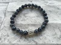 Männer Herren Armband Edelsteine handgefertigt Obsidian Buddha