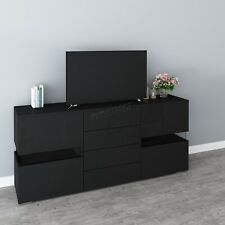COSMETIC DAMAGED TV Cabinet Unit Stand Modern LED Light – High Gloss Sideboard
