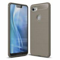 Google Pixel 3 XL Case Carbon Fiber Look Brushed Case Cover Pouch Grey