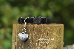 Plush Black Velvet cat collar 3 sizes FREE POSTAGE within Australia