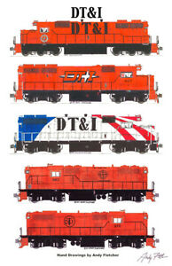 "Detroit Toledo & Ironton Locomotives 11""x17"" Poster by Andy Fletcher signed"