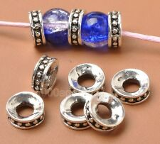 40pcs Charms Tibetan Silver Bracelet beads Finding loose Spacer Bead 8mm A3365
