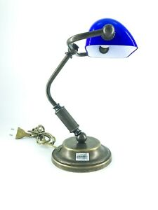 Desk Lamp Ministerial Old England Brass Antiqued With Glass 15 CM