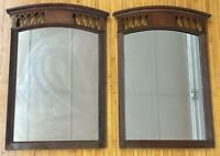 "Antique HEAVY 35"" x 24"" PAIR Tobacco Leaf Inlay Hanging Cutout Wood Wall Mirrors"