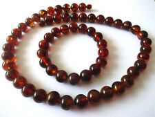 Round Cherry Baltic Amber Necklace And  Bracelet