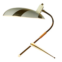 Krähenfuß Tisch Lampe Tripod Strahlenschirm Lese Leuchte Messing Vintage 50er