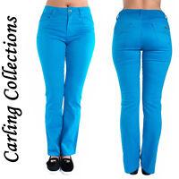 Womens Ladies Coloured Jeans Blue Slim Fit  Denim Trousers Size 6 8 10 12 14 16