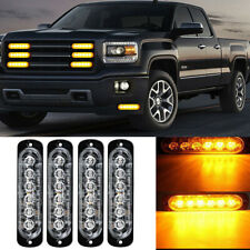 Car Truck Emergency Beacon Hazard Warning Flash Strobe Light Bar 4X Amber 6 LED