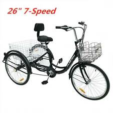 Black Double Basket 26''Adult Tricycle Trike 3-Wheel Cruise Bike For Shopping