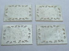 SUPER ANTIQUE 4 CHINESE CARVED MOTHER OF PEARL GAMING COUNTERS CHIPS TOKEN