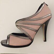 Damas Zapatos Talla 7 Rosa Nuevo Aspecto De Bronce Tacón Stiletto Cremallera Espalda Sexy