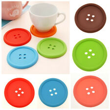 5pc Silicone Coffee Placemat Button Coaster Cup Mug Glass Beverage Holder PadMat