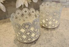 2x Off White Flower Themed Kohl's Candle Holders for Glass Jar Rustic