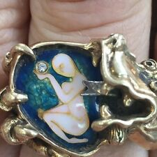 Joan Bazzle Cloisonne Enamel 14k Yellow Gold Dragon Ring w/ Eves Forbidden Fruit