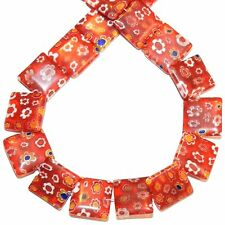 """G4030 Red with Multiple Color Millefiori Flower 14mm Flat Square Glass Bead 14"""""""