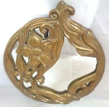 """VTG RARE BRASS ART NOUVEAU LILY FLORAL FLOWERS ROUND HANGING WALL MIRROR 9.75"""""""