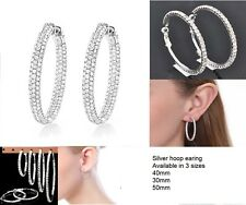 Sparky-Diamante-Silver-Plate-Round-Hoop-Sleeper-Earrings-30mm-40mm-50mm Uk