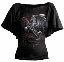 Spiral Dragon Rose Viscose Latin Boatneck Top XXL