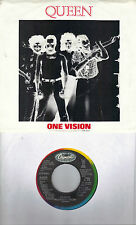 QUEEN  One Vision / Blurred Vision  rare soundtrack 45 with PicSleeve