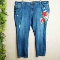 Kut from the Kloth Catherine Boyfriend Jeans Floral Embroidered Plus Size 24W