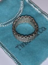 Tiffany & Co Somerset Ring, Sterling Silver 925 Mesh Chain, Size 8.5-9