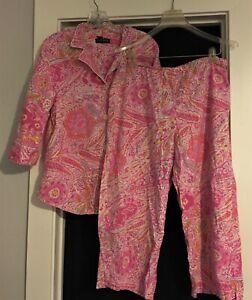 Ralph Lauren Cotton Pajama set Pink Florals Top/cropped pant  L      FREE SHIP