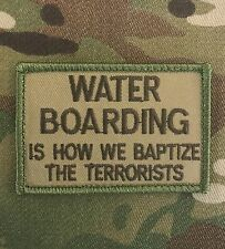 WATER BOARDING BAPTIZE TERRORIST TACTICAL USA ARMY MULTICAM HOOK MORALE PATCH