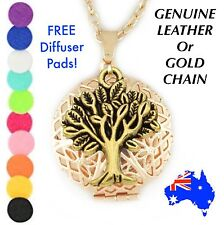 Gold Tree of Life Aromatherapy Essential Oil Diffuser Locket Pendant Necklace