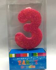 Cake Candle Number 3 Glitter Pink 3rd Birthday Party Girl Third Three 13th 30th