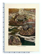 Charles Robinson Fables Crab and Mother Seashore Print Tipped In Book Plate
