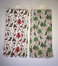 NEW Set of 2 Cynthia Rowley Christmas kitchen towels - penguins trees stockings
