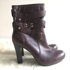 M&S Burgundy Platform Heel Boots 5 1/2 UK Party Limited Collection Strap Detail