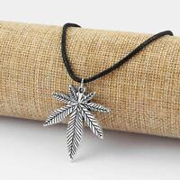 Marijuana Weed Leaf Silver Pendants Black Wax Cotton Cord Choker Necklace Pagan