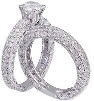 14k White Gold Round Cut Diamond Engagement Ring And Band Bridal Set 1.40ctw