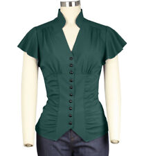 1940s Pinup Emerald Green Betty Blouse ~ Rockabilly Vintage Retro Top Plus Size