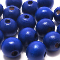 Lot de 20 Perles en Bois 12mm Bleu pour Création de Bijoux Norme DIN EN 71-3