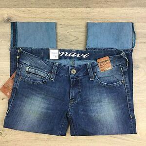 Mavi Lysette Artistic Blue Denim Skinny Cuffed Capri Women's Jeans Size 28 (Q13)