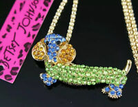 Betsey Johnson Green & Blue Cute Dachshund  Dog Pendant Sweater Necklace Chain