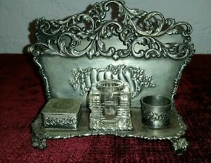 Antique Art Nouveau Silver Plated Letter Holder/Ink Well 19th Century Vintage