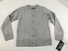 French Toast Girls Youth Long Sleeve Button Front Cardigan Light Gray 6/6x NWT @