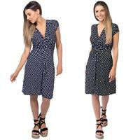 Polka Dot Dress Pleated Skirt V Neck Mini Front Knot Wrap Swing Top Black Navy