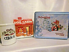 Christmas & Baseball Coffee Mug Log Cabin Syrup Tin Swiss Colony Tin 3 in Bundle